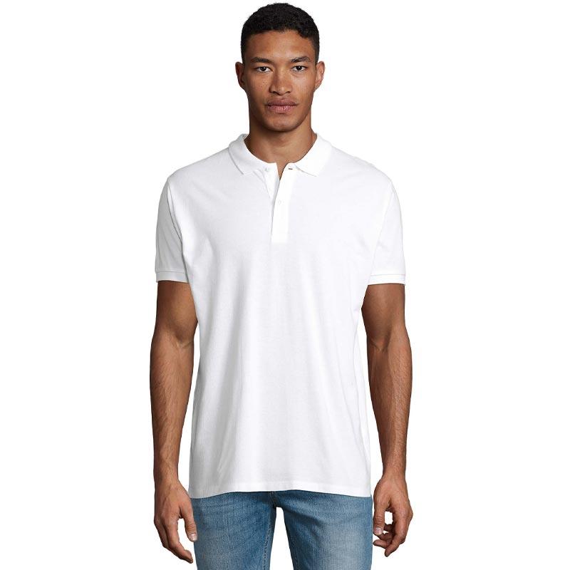 Polo publicitaire en coton bio Planet modèle homme porté