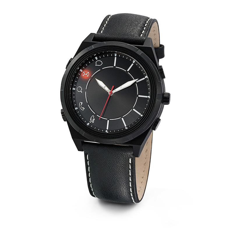 Montre connectée personnalisable Tendance - cadeau d'entreprise personnalisé - Bracelet cuir noir