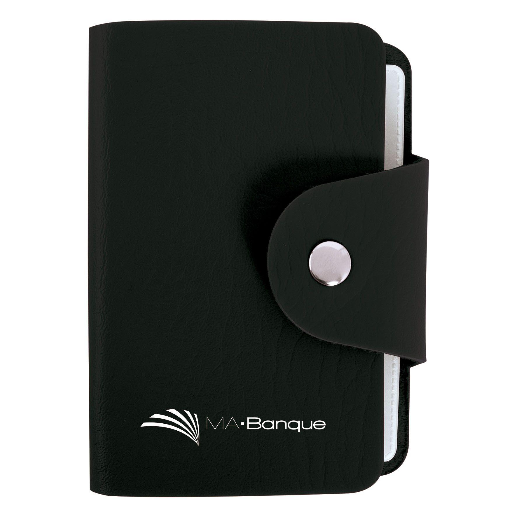 Objet promotionnel - Porte-cartes publicitaire 12 poches - noir