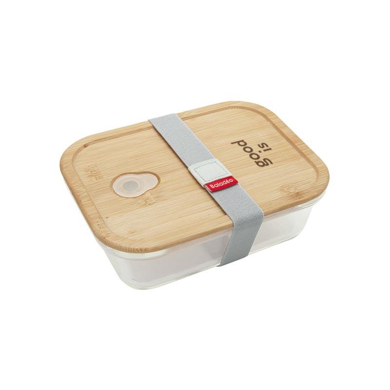 Lunch box publicitaire en verre et bambou Iwaki - bento personnalisable