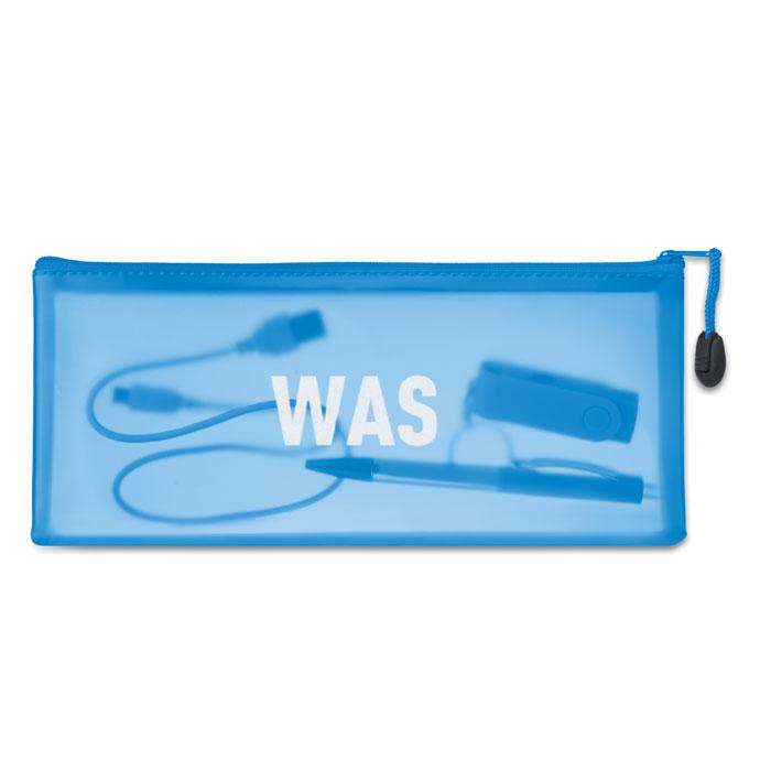 objet publicitaire - Trousse publicitaire à crayon en PVC Gran - bleu