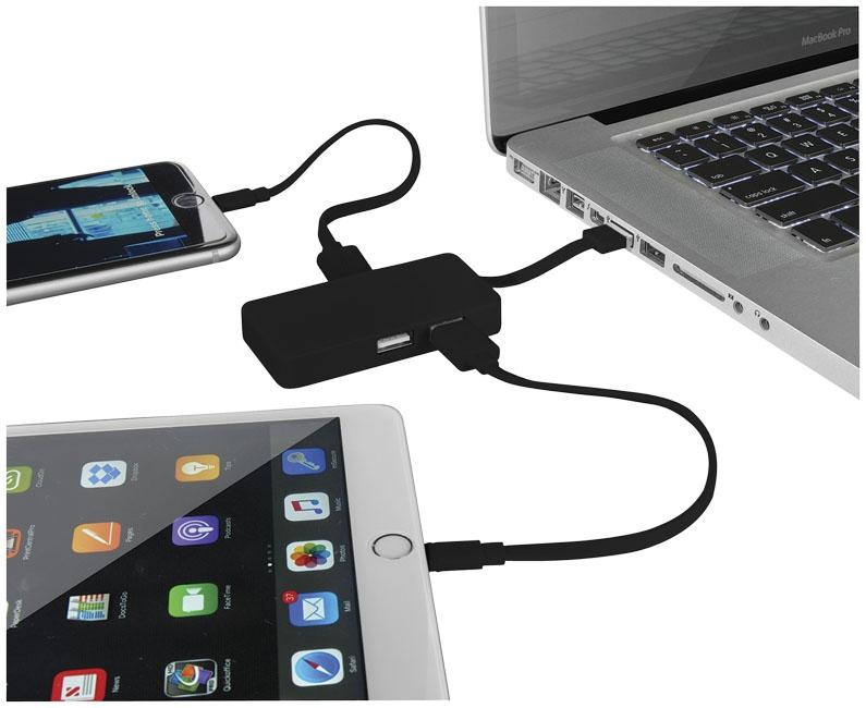 Hub USB publicitaire avec cable dual - noir