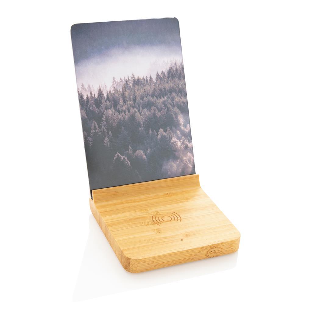Chargeur à induction publicitaire en bambou avec cadre photo Avery 5W 1
