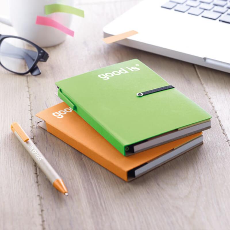 Cadeau d'entreprise - Carnet recyclé ligné et stylo Reconote