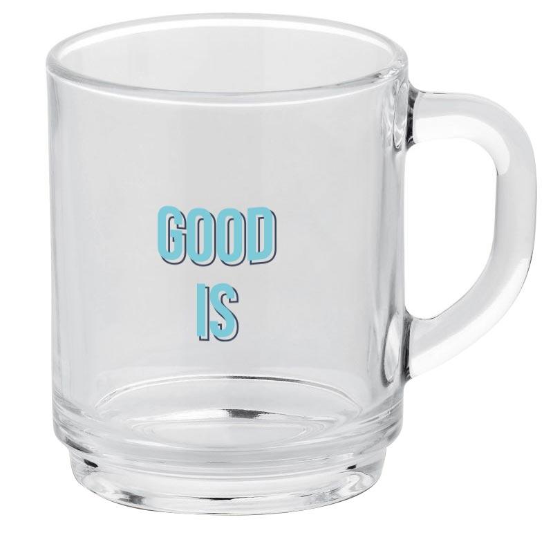 Mug pour entreprise transparent New Delhi - Tasse à thé publicitaire