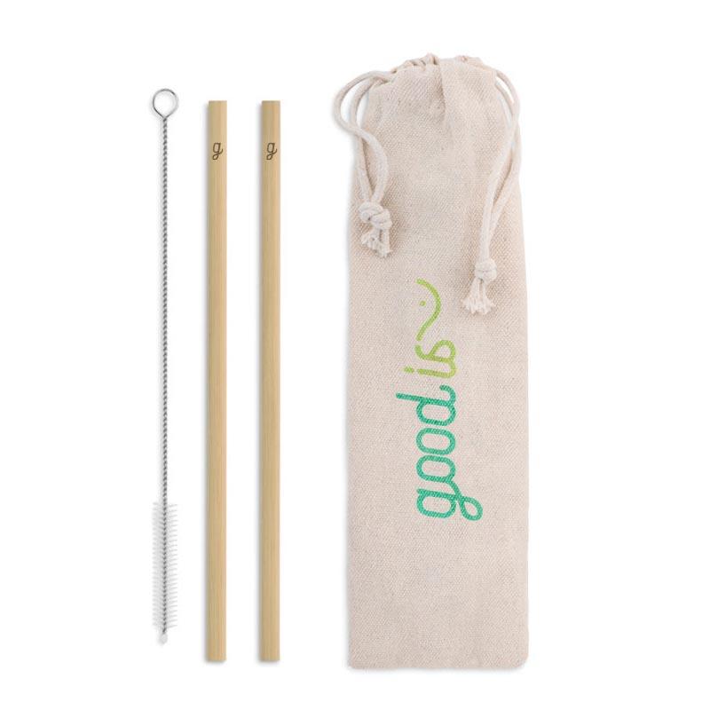 Pailles publicitaire réutilisables en bambou Straw - Goodies zéro déchet