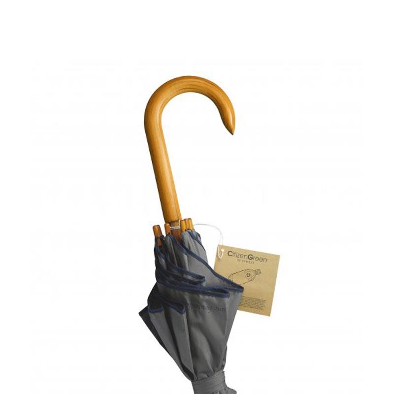 Parapluie publicitaire Golf - Détail manche étiquette écolo