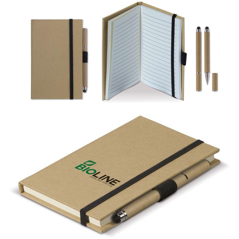 Carnet personnalisable A6 et stylo-stylet carton Green - objet publicitaire écologique