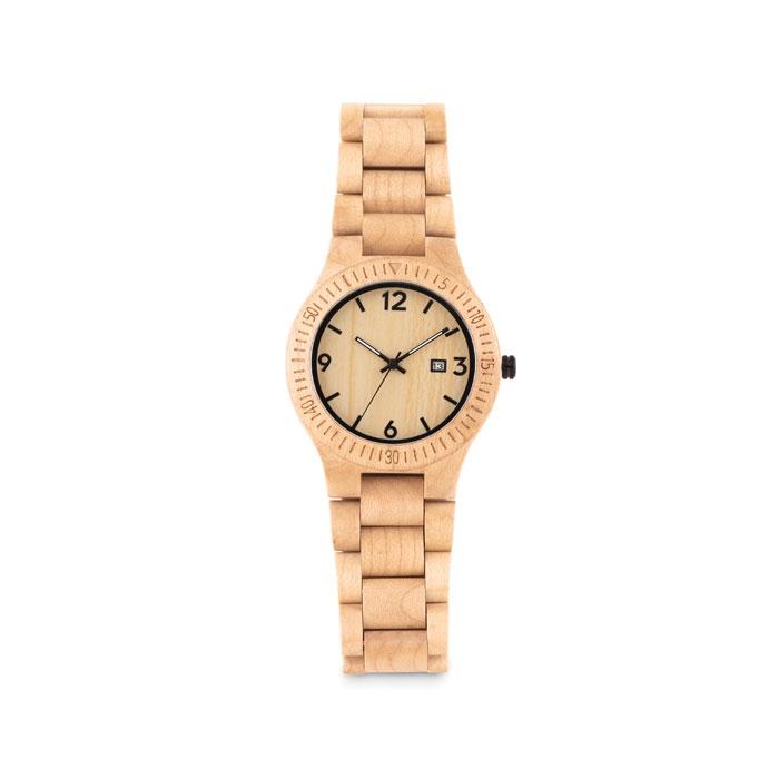 Cadeau d'entreprise écologique - montre en bois acajou publicitaire San