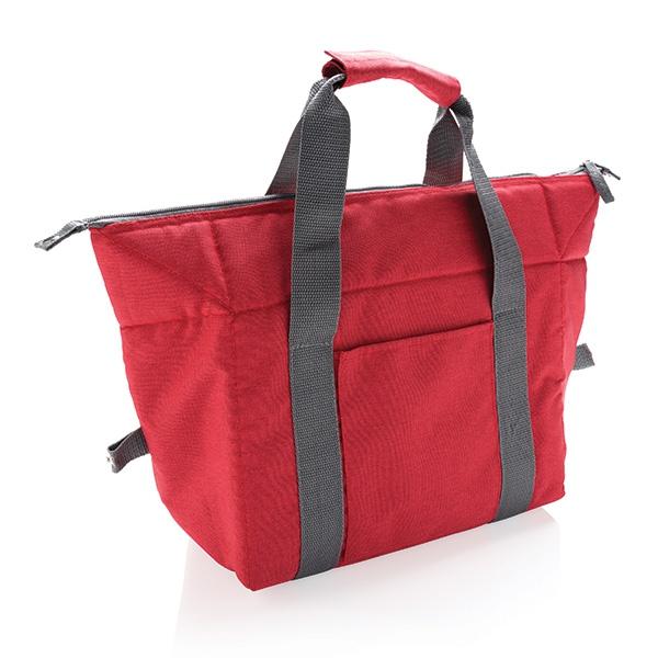 Sac isotherme publicitaire Cabas gris/rouge - cadeau d'entreprise personnalisé