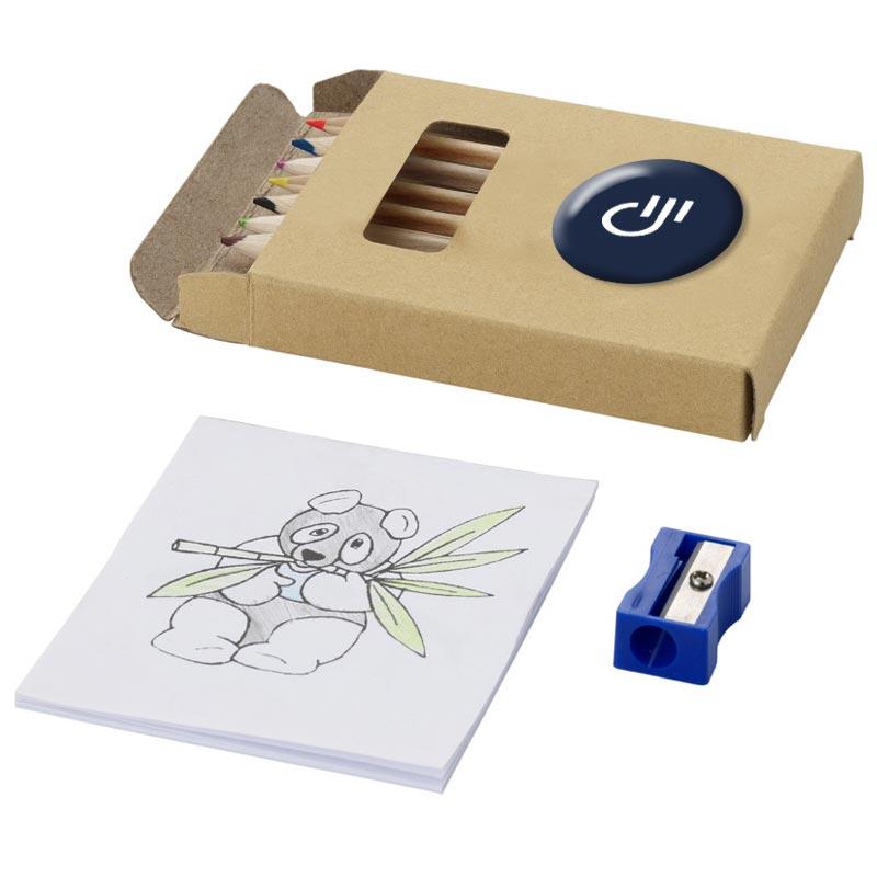 Set coloriage et crayons 8 pièces avec étui personnalisable