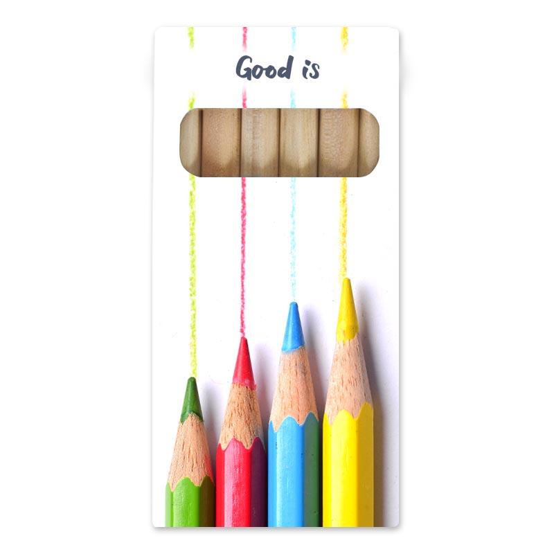 Étui de 6 crayons de couleur publicitaires Eco 8,7 cm