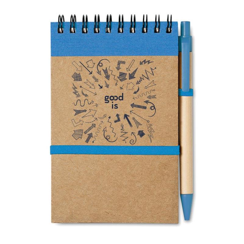bloc notes recyclé et stylo publicitaire bleu