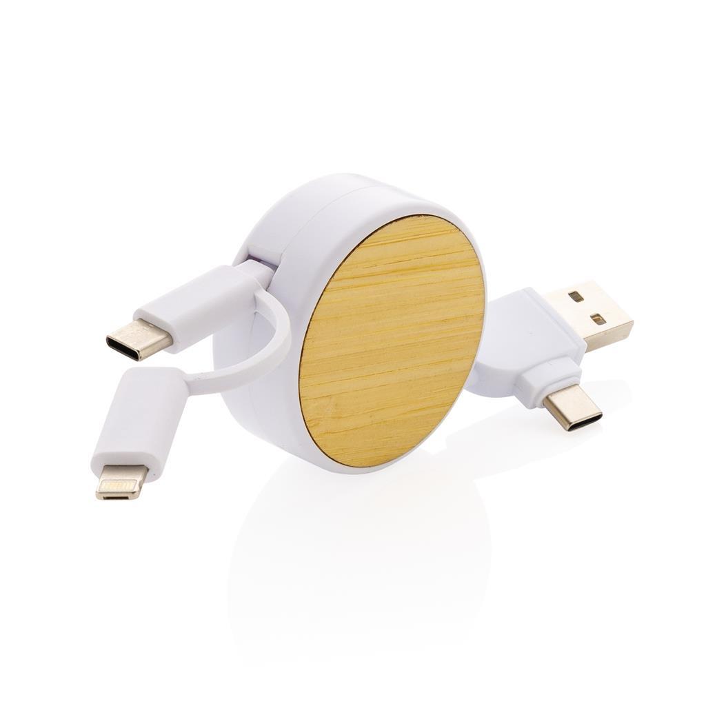 Câble USB publicitaire 6 en 1 Ontario en bambou