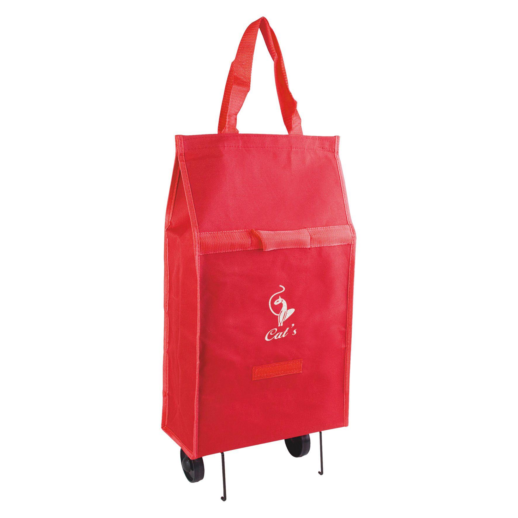 Sac shopping publicitaire - Chariot caddie publicitaire à roulettes - rouge
