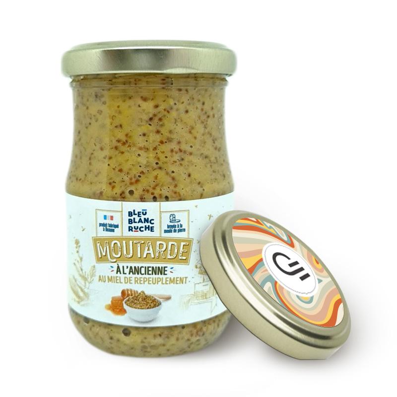 Pot de moutarde à l'ancienne au miel personnalisable Bleu Blanc Ruche