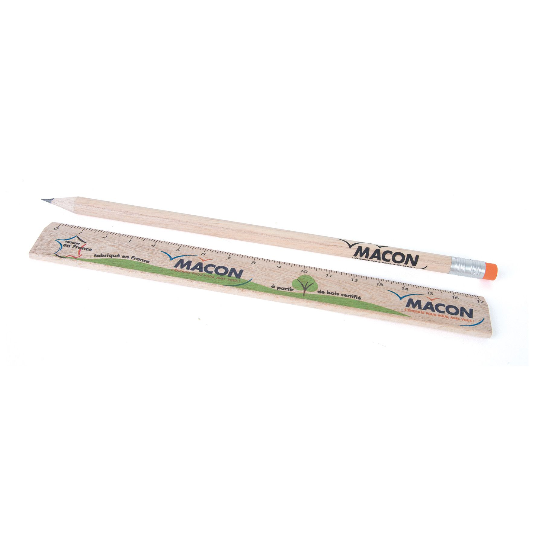 Ensemble de papeterie personnalisable comprenant un crayon papier et une règle publicitaire en bois