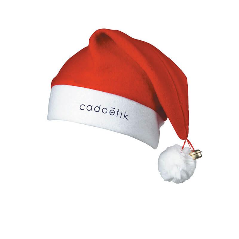 cadeau d'entreprise Noël - Bonnet de père Noël à pompom