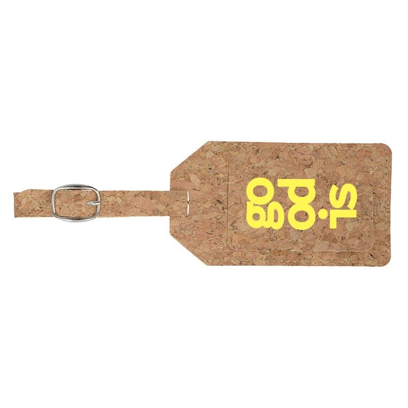 Étiquette à bagage publicitaire en liège Etili - Recto
