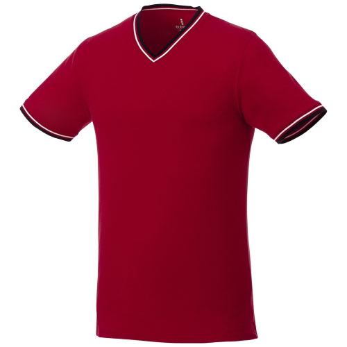 T-shirt publicitaire personnalisable col V coton rouge Elbert