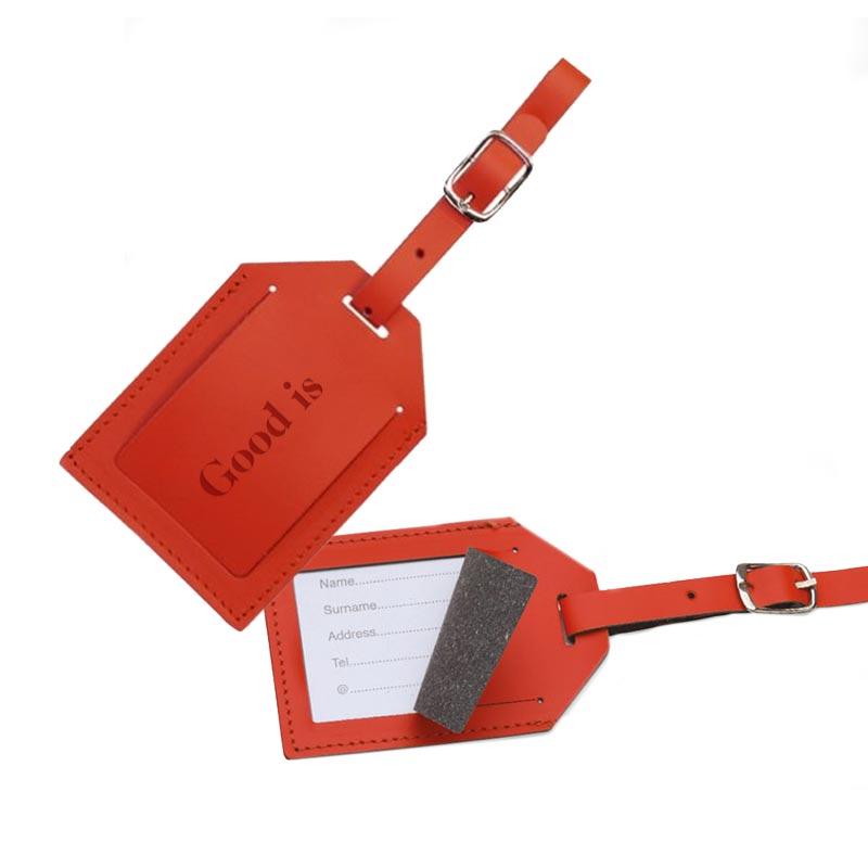 Porte étiquette bagage publicitaire en cuir recyclé World - Coloris rouge
