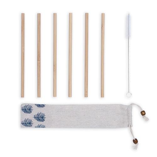 Set de 6 pailles publicitaires en bambou Sok