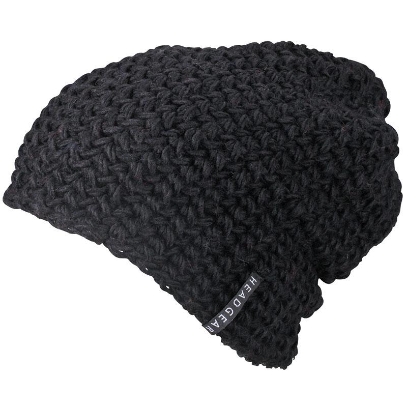 Bonnet personnalisé tricot crocheté Beanie - noir
