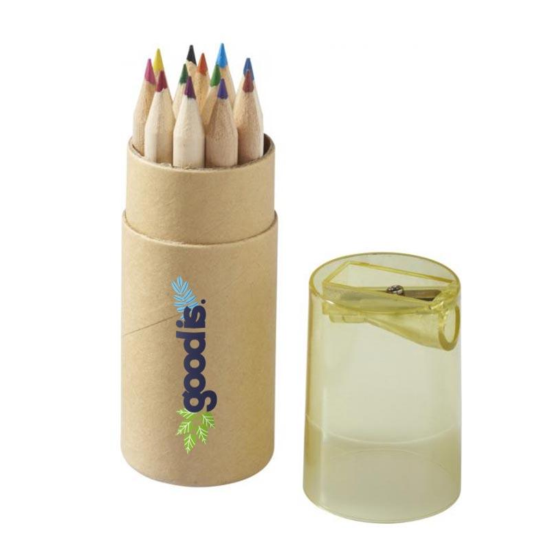 Set de 12 crayons de couleur Joan avec taille-crayon