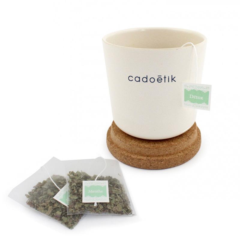 Mug publicitaire en bambou et liège avec sachet de thé blanc
