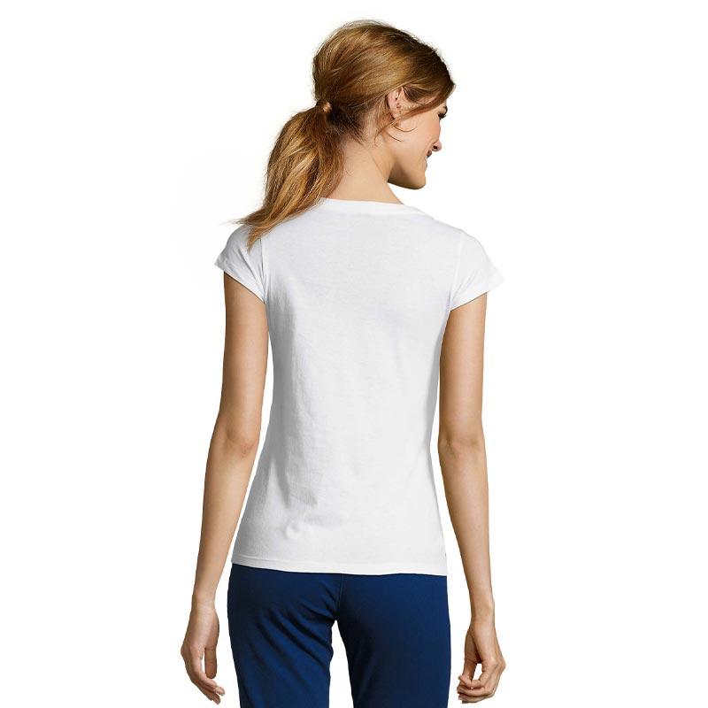 t-shirt publicitaire vue de dos porté par une femme Moon