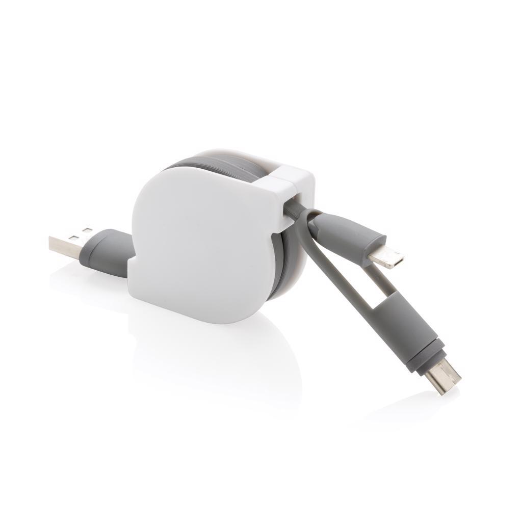 cadeau publicitaire high-tech - Câble rétractable 3en1 Akly