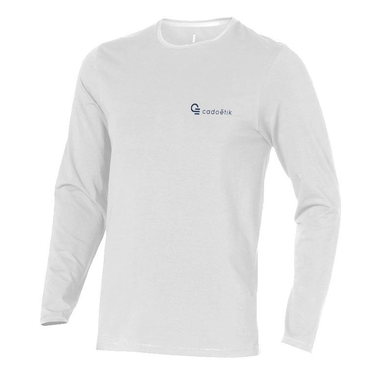 T-shirt bio publicitaire manches longues pour homme Ponoka blanc