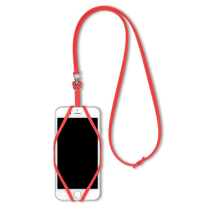 Tour du cou support publicitaire smartphone Silihanger - rouge