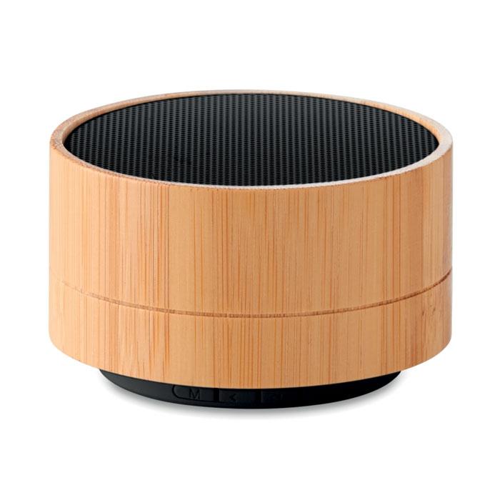 Haut-parleur Bluetooth publicitaire en bambou SOUND BAMBOO noir - cadeau entreprise personnalisé