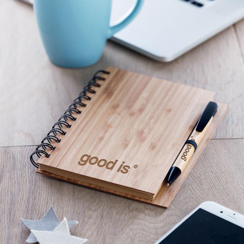 Cadeau personnalisé - Carnet et stylo en bambou Bambloc