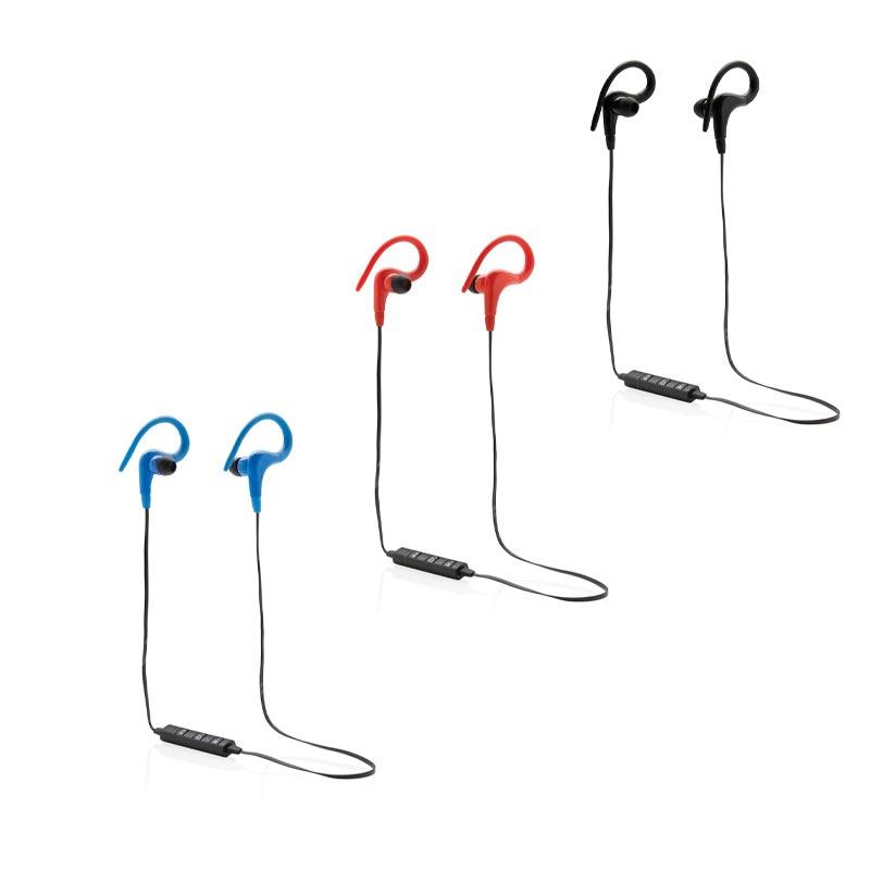 Écouteurs sports publicitaires bleu rouge noir