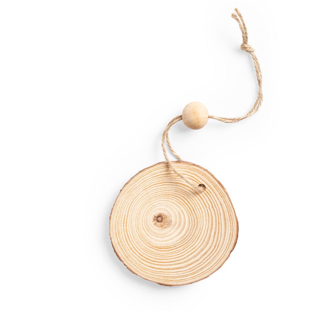 décoration de Noël publicitaire à suspendre rondelle de bois avec cordelette Rupol