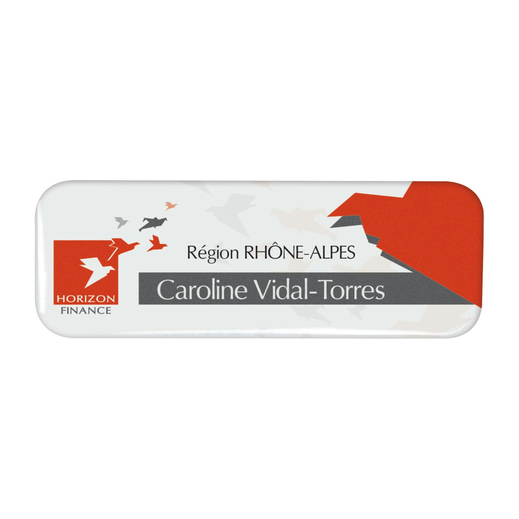 Goodies - Badge publicitaire fin rectangle 6,9 x 2,4 cm