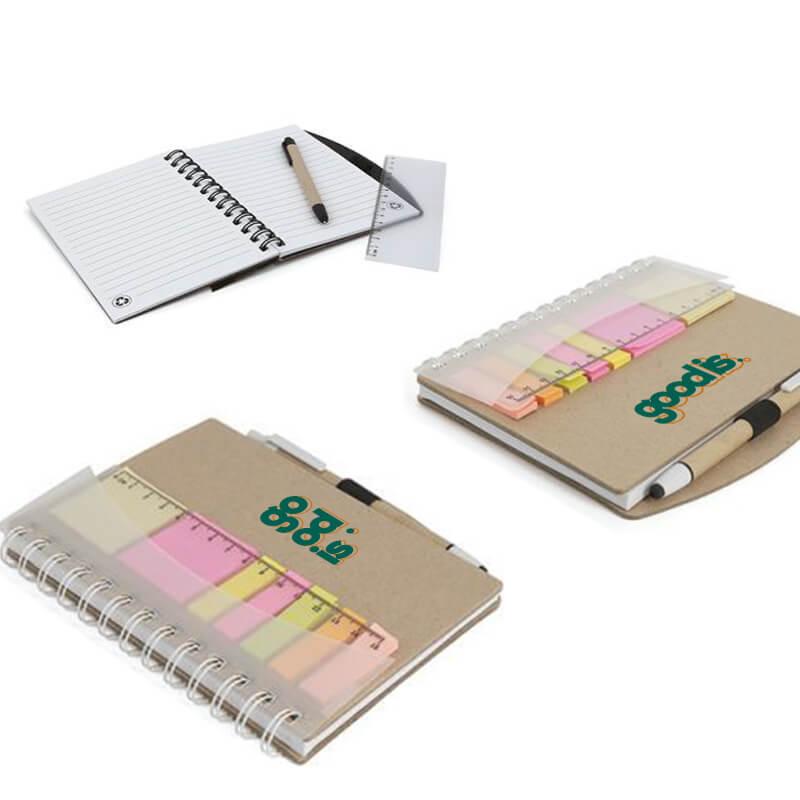 Cadeau d'entreprise écologique - Carnet et stylo avec notes Trio