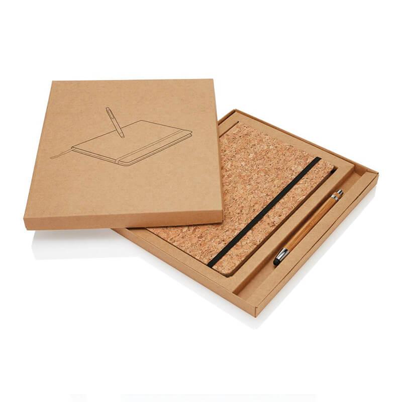 Carnet de notes Earth en liège avec stylo en bambou à personnaliser