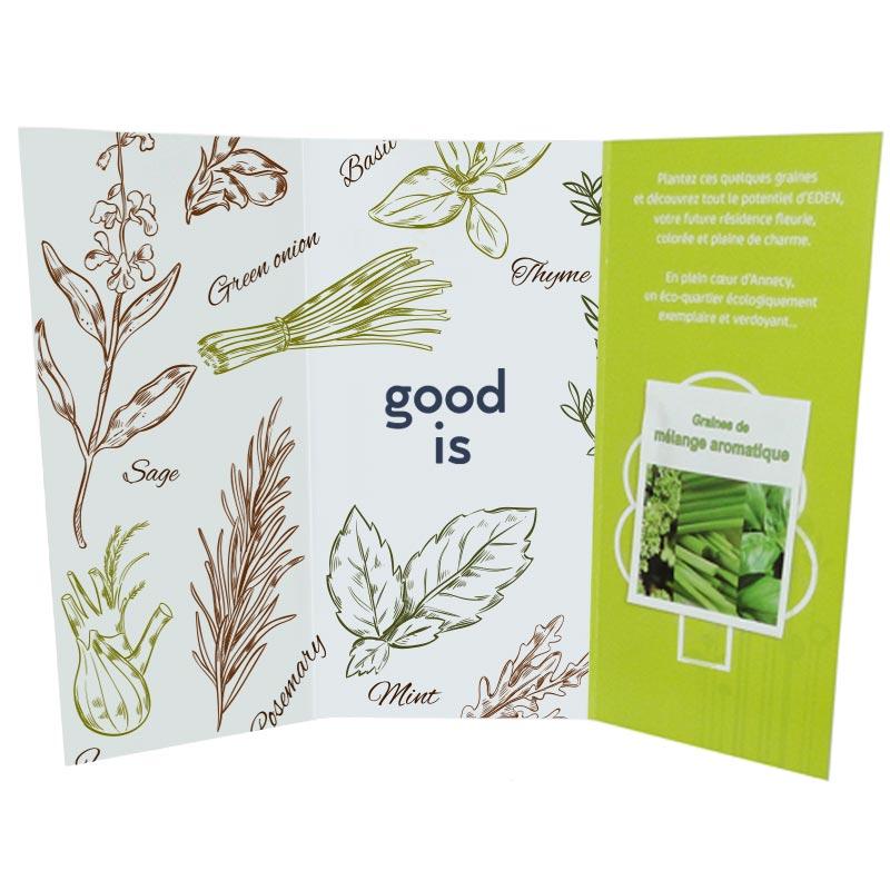 Sachet de graines publicitaire - Carte 3 volets avec graines