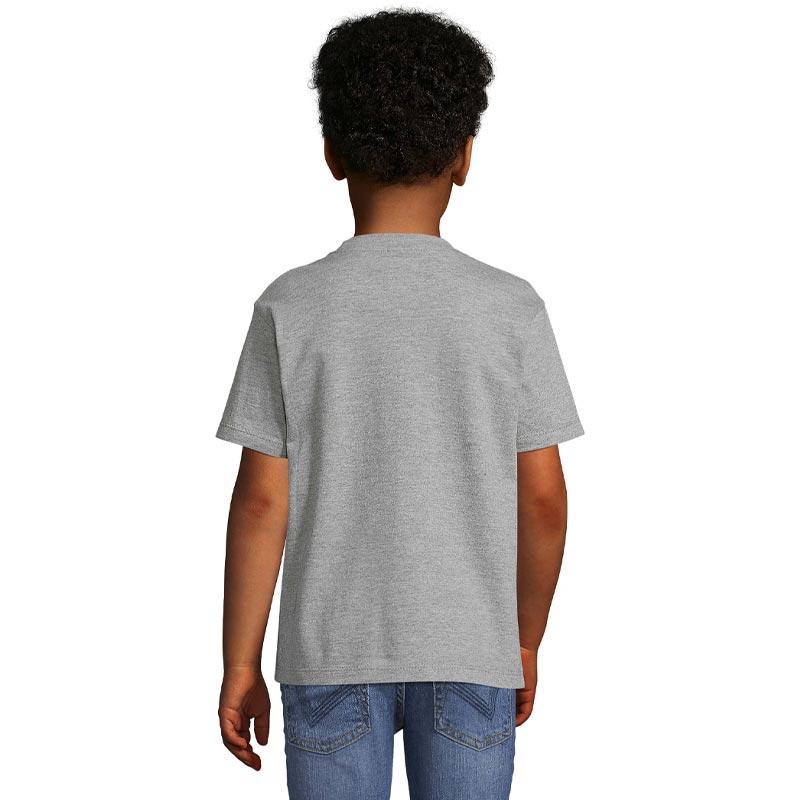 tee-shirt publicitaire enfant en coton gris - derrière