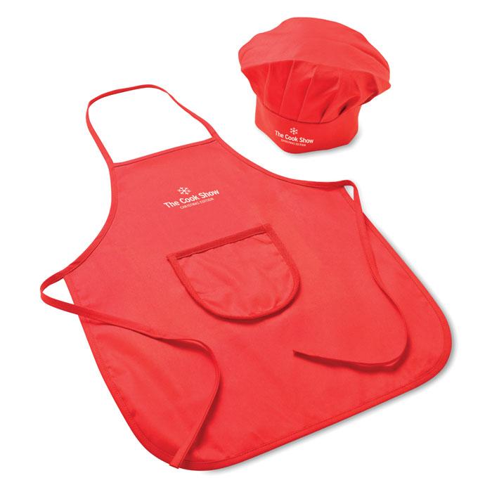 Tablier personnalisable rouge pour enfant avec chapeau de cuisinier Petitchef
