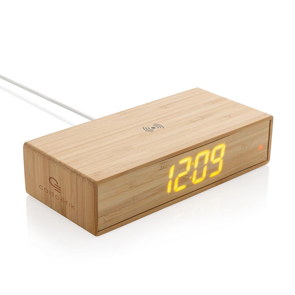 Réveil avec chargeur sans fil publicitaire en bambou Wake Up 5W 1