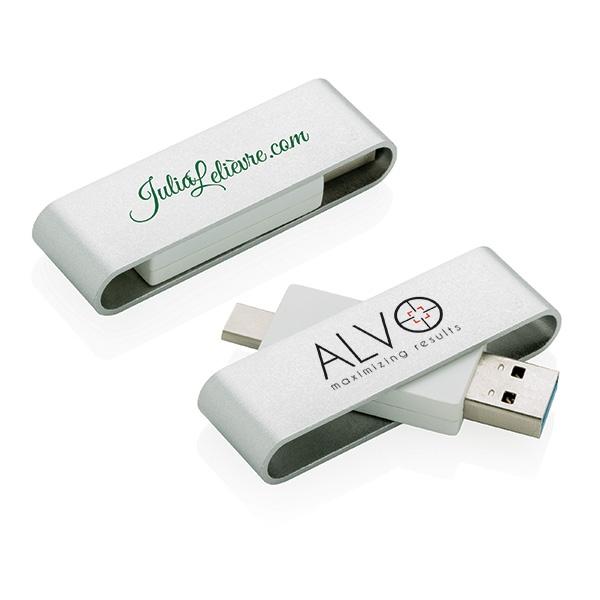 Clé USB publicitaire avec type C Pivot - Objet publicitaire