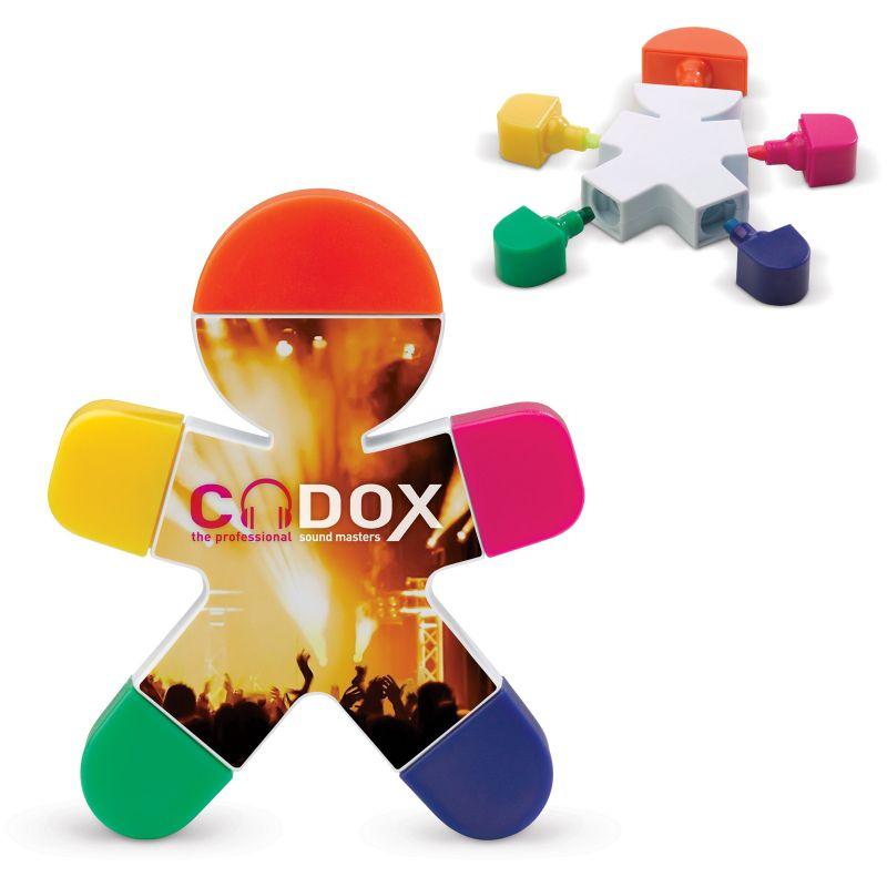 Goodies original - surligneur publicitaire 5 couleurs Bonhomme