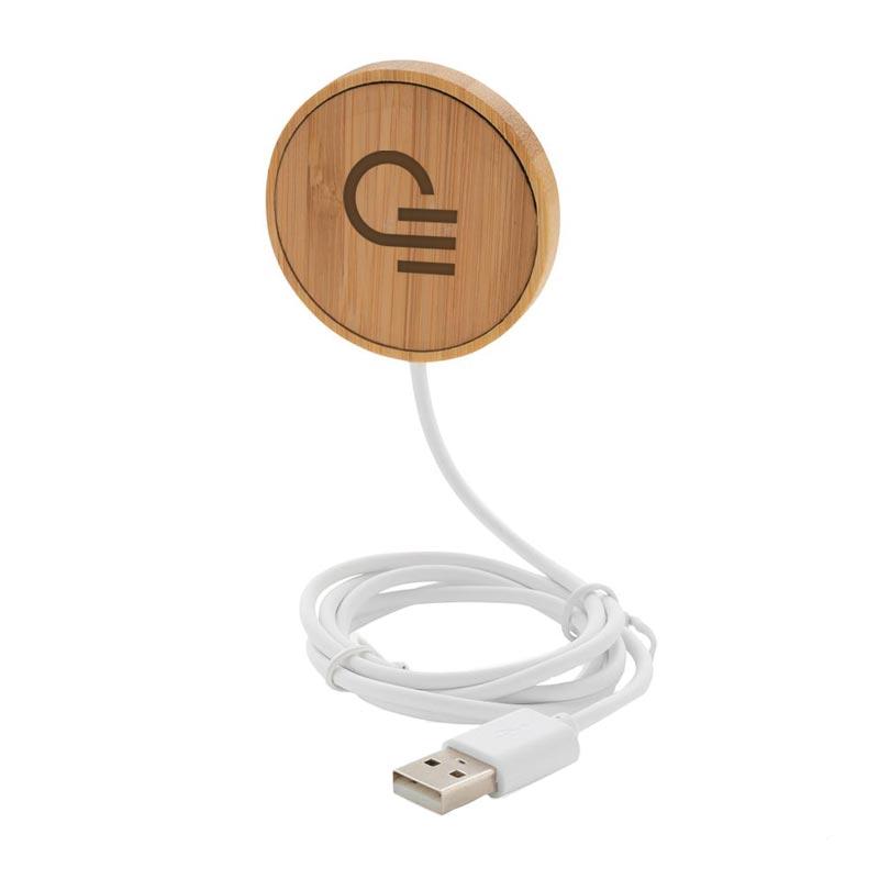 Chargeur à induction publicitaire magnétique en bambou - Marquage logo