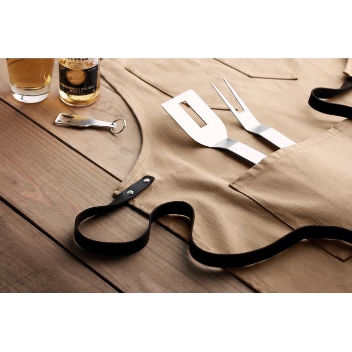 Tablier publicitaire toile et cordon cuir Chef - cadeau d'entreprise cuisine