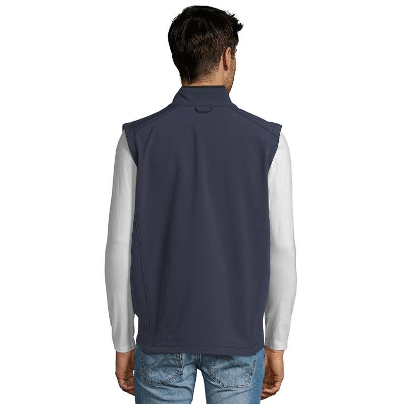 Vue de dos de la veste zippée Softshell sans manches Rallye