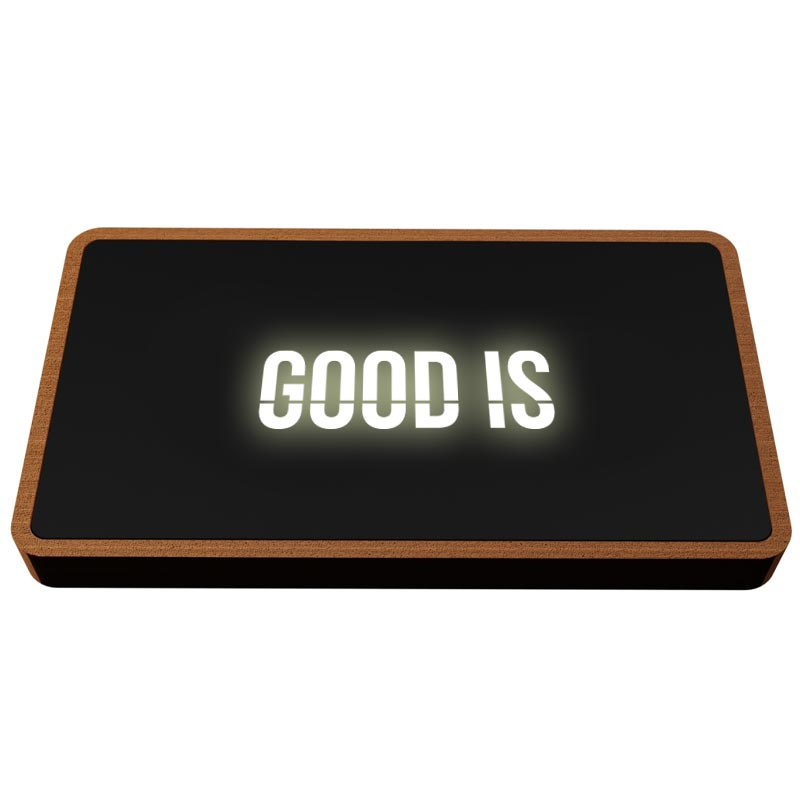 Powerbank publicitaire avec logo lumineux Eco Wood